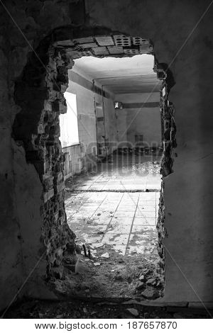 Interior Of Abandoned Restaurant. Black And White Tone