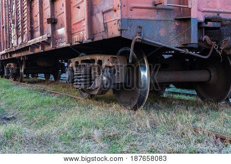 Rail rusty freight car close-up Horizontal image