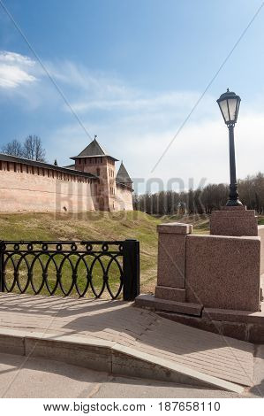 Veliky Novgorod, Russia - 13 May:the Towers Of Kremlin Fortress , Russia - 13 May 2017.