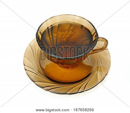 Glass cup with tea isolated on white background