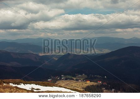 Carpathian mountains. The village in the mountains. Houses in the mountains. Dragobrat