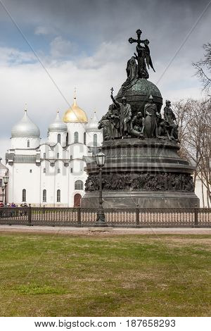 Veliky Novgorod, Russia - 13 May:the Cathedral With A Monument Inkremlin Fortress , Russia - 13 May
