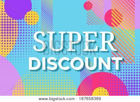 Sale poster in trendy 80s-90s memphis style with geometric patterns and shapes. Vector illustration with colorful background