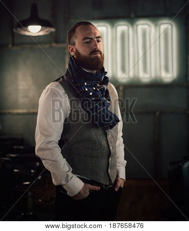 Handsome Bearded Man Hipster With Stylish Beard.