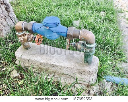 Water Meter with Pipe and Valve Water Metering Used to Measure The Volume of Water by Residential and Commercial Buildings.