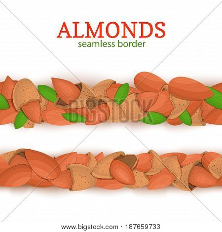 Almond Horizontal seamless border. Vector illustration card. Wide and narrow endless strip with almond nut fruit in the shell whole shelled leaves for packaging design of healthy food, detox, diet