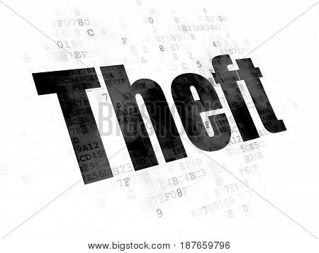 Protection concept: Pixelated black text Theft on Digital background