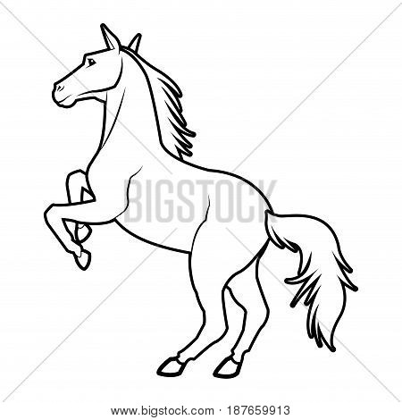 Horse on two legs equine animal line vector illustration