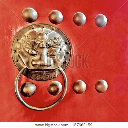 Ancient Chinese Lion Head Shaped Doorknob or Door Knocker Used to Manually Open or Close A Door at The Entrance or The Inner Shrine Symbol of Protection and Power in Oriental Asia Especially China.