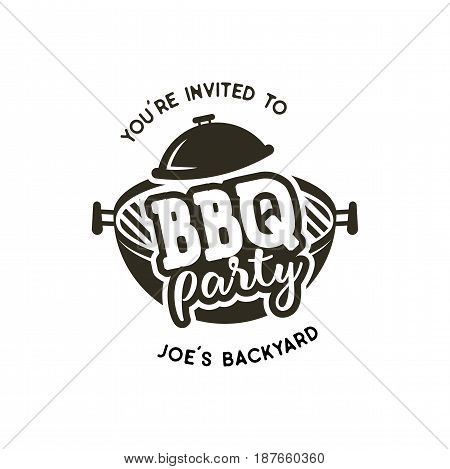 BBQ party label in monochrome style. Invitation to grill, barbeque event. Isolated on white background. Vintage black monochrome design. Vector silhouette.
