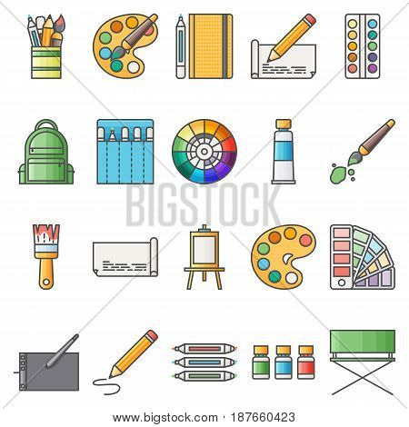 Simple Set ofArtistic Vector Flat Icons. Contains suchIconsas palette, watercolors, artistic tools, easel, and more. 48x48 Pixel Perfect.