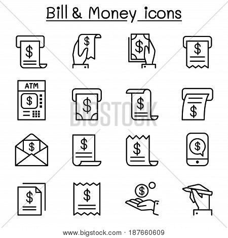 Bill & money icon set in thin line style