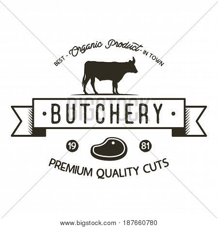 Butchery shop logo template. Old style badge design with silhouette cow symbol and typography elements. Stock vector isolated on white background.