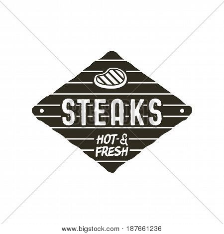 Steaks old style patch. Rustic design. BBQ badge template. Stock vector isolated on white background.