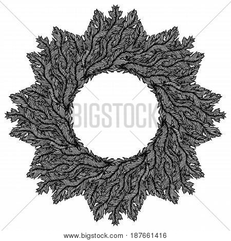 Hand drawn vintage decorative wreath. Tribal design elements. Perfect for invitations, greeting cards, quotes, blogs, posters etc. Vector illustration.