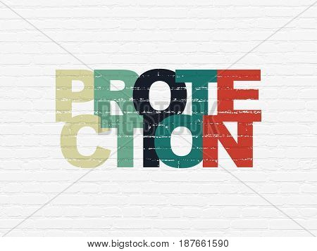 Protection concept: Painted multicolor text Protection on White Brick wall background