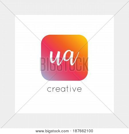 Ua Logo, Vector. Useful As Branding, App Icon, Alphabet Combination, Clip-art.
