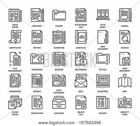 Vector set of files and documents flat line web icons. Each icon with adjustable strokes neatly designed on pixel perfect 48X48 size grid. Fully editable and easy to use.