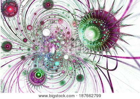 Fractal image on a light background colored lines intricately woven in a beautiful pattern .