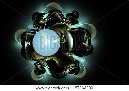Fractal image on a dark background colorful lines intricately woven into a beautiful pattern .