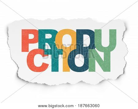 Finance concept: Painted multicolor text Production on Torn Paper background