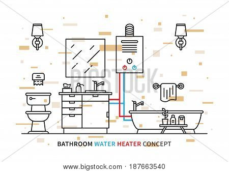 Bathroom water heater geyser vector illustration with colorful elements. Bathroom interior with domestic boiler graphic design.