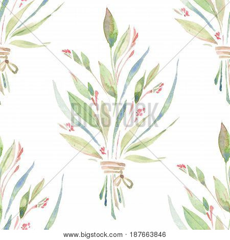 Wildflowers, green grass. Watercolor floral seamless pattern
