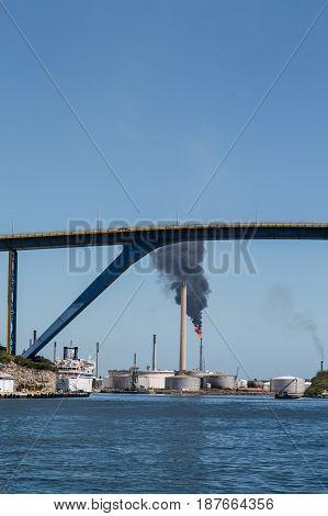 Smoke from Oil Well Fire Beyond Curacao Bridge