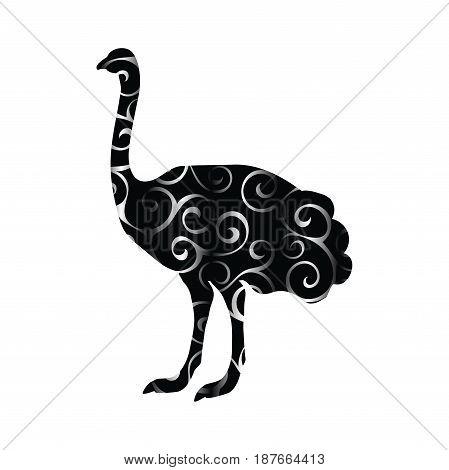 Ostrich bird color silhouette animal. Vector Illustrator.