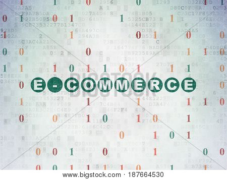 Finance concept: Painted green text E-commerce on Digital Data Paper background with Binary Code