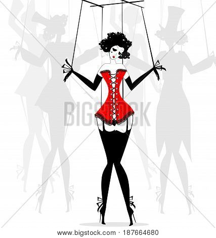 black and white fantasy of hand girl-puppet in the red corset