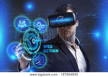 Business Technology Internet and network concept. Young businessman working in virtual reality glasses sees the inscription: Web design