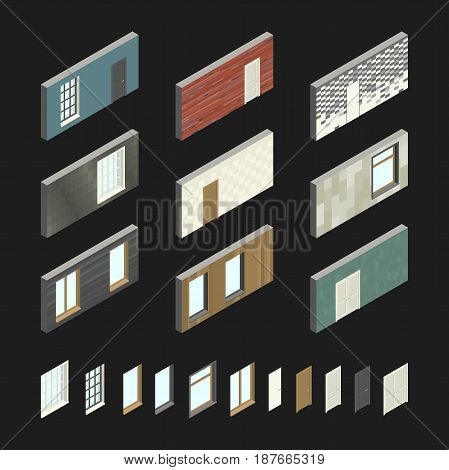 Wall patterns with doors and windows in isometric view.Vector illustration of set with different wall covering.