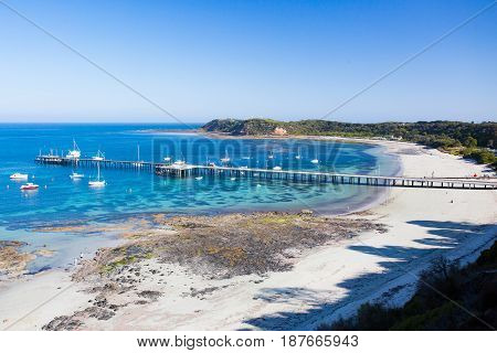 Flinders back beach and pier on a hot summer's evening in the Mornington Peninsula, Victoria, Australia