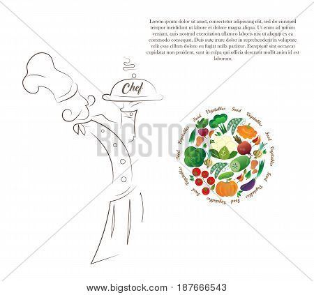Silhouette drawing of the chef illustration of the vegetables. Finished design for restaurant bistro