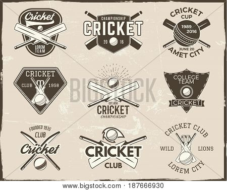 Set of retro cricket sports template logo designs. Use as icons, badges, label, emblems or print. Vector illustration sport championship. Isolated on scratched background.