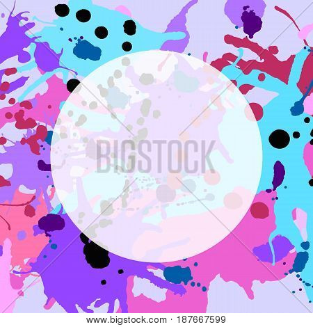 Turquoise Purple Pink Ink Splashes Round Frame Template Square