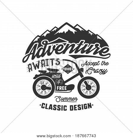 Vintage wanderlust hand drawn label design. Adventure Awaits sign and outdoor activity symbols - mountains, bike. Retro monochrome emblem. Isolated on white background. Vector typography insignia.