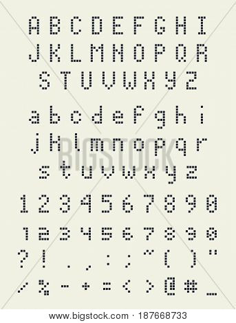 pixel square font, letters numbers and punctuation