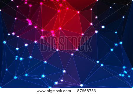 Deep Blue And Red Geometric Background With Mesh And Lights