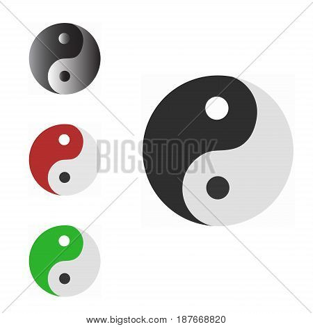 Ying yang icon symbol vector illustration. Religions