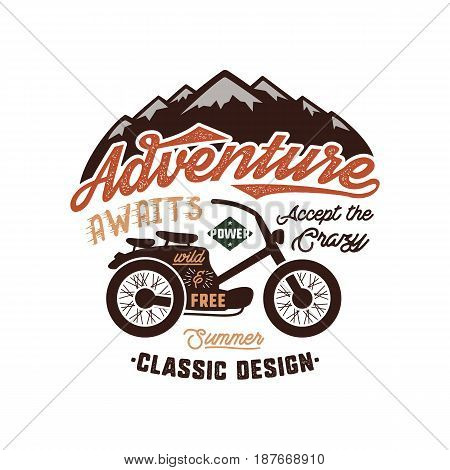 Vintage wanderlust hand drawn label design. Adventure Awaits sign and outdoor activity symbols - mountains, motorcycle. Retro colors. Isolated on white background. typography insignia.