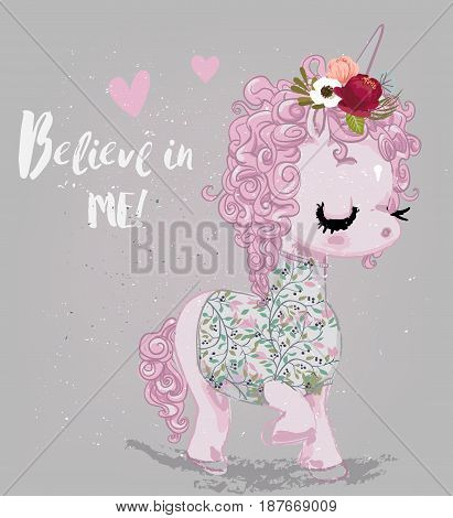 pink cartoon fairytale unicorn with stars and letters