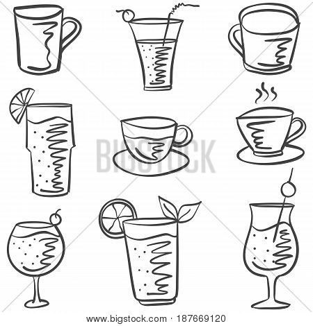 Collection stock drink doodle set vector illustration