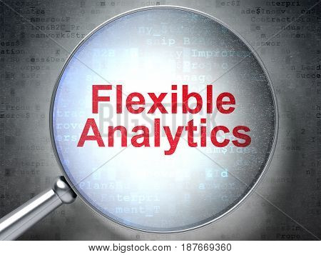 Finance concept: magnifying optical glass with words Flexible Analytics on digital background, 3D rendering