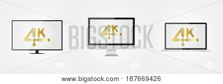 4K Ultra HD golden vector icon on the TV, monitor and laptop. Flat vector illustration EPS10.