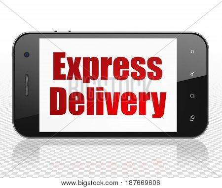 Business concept: Smartphone with red text Express Delivery on display, 3D rendering