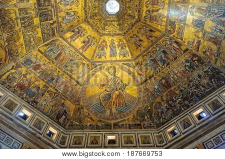 The beautiful golden mosaics of the octagonal dome of the Baptistery by Coppo di Marcovaldo - Florence Tuscany Italy, 11 October, 2011