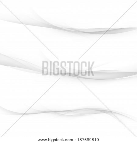 Transparent satin abstract futuristic web lines collection. Halftone dynamic speed transparent divider grey modern swoosh wave set. Vector illustration