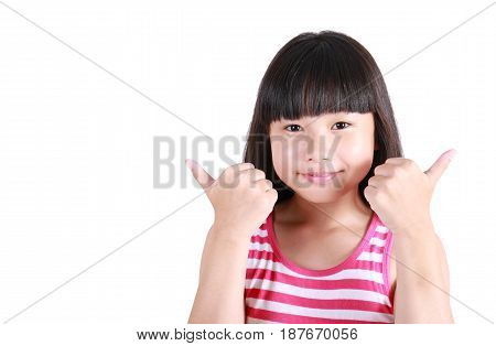 Portrait of little asian girl thumb up